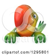 Clipart Of A 3d Green Macaw Parrot Over A Sign Royalty Free Illustration