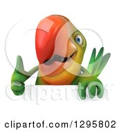 Clipart Of A 3d Green Macaw Parrot Holding A Thumb Up Over A Sign Royalty Free Illustration by Julos