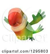 Clipart Of A 3d Green Macaw Parrot In Flight Royalty Free Illustration