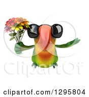 Clipart Of A 3d Green Macaw Parrot Wearing Sunglasses And Flying With A Bouquet Of Flowers Royalty Free Illustration by Julos