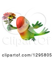 Clipart Of A 3d Green Macaw Parrot Wearing Sunglasses And Flying With A Bouquet Of Colorful Flowers Royalty Free Illustration