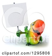 Clipart Of A 3d Green Macaw Parrot Holding Up A Blank Sign Royalty Free Illustration