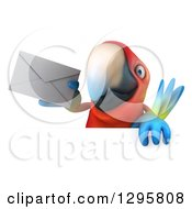 Clipart Of A 3d Scarlet Macaw Parrot Holding An Envelope Over A Sign Royalty Free Illustration