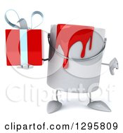 Poster, Art Print Of 3d Paint Can Character Holding A Thumb Down And A Gift