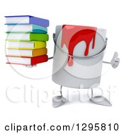 Poster, Art Print Of 3d Paint Can Character Holding A Thumb Up And Stack Of Books