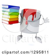 Poster, Art Print Of 3d Paint Can Character Jumping And Holding A Stack Of Books