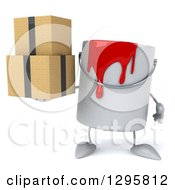 Clipart Of A 3d Paint Can Character Holding Boxes Royalty Free Illustration