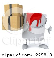 Clipart Of A 3d Paint Can Character Holding A Thumb Down And Boxes Royalty Free Illustration