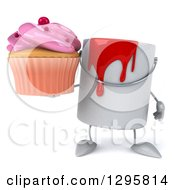 Poster, Art Print Of 3d Paint Can Character Holding A Pink Frosted Cupcake