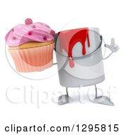 Poster, Art Print Of 3d Paint Can Character Holding Up A Finger And A Pink Frosted Cupcake