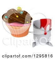 Poster, Art Print Of 3d Paint Can Character Holding Up A Chocolate Frosted Cupcake