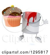 Poster, Art Print Of 3d Paint Can Character Jumping And Holding A Chocolate Frosted Cupcake