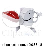 Clipart Of A 3d Happy Coffee Mug Jumping And Holding A Beef Steak Royalty Free Illustration