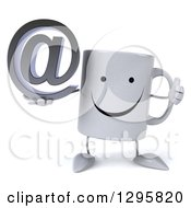 Clipart Of A 3d Happy Coffee Mug Holding A Thumb Up And Email Arobase At Symbol Royalty Free Illustration