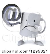 Clipart Of A 3d Unhappy Coffee Mug Holding And Pointing To An Email Arobase At Symbol Royalty Free Illustration