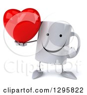Clipart Of A 3d Happy Coffee Mug Holding And Pointing To A Heart Royalty Free Illustration