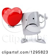 Clipart Of A 3d Unhappy Coffee Mug Holding Up A Finger And A Heart Royalty Free Illustration