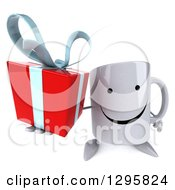 Clipart Of A 3d Happy Coffee Mug Holding Up A Gift Royalty Free Illustration