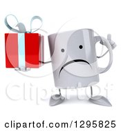 Clipart Of A 3d Unhappy Coffee Mug Holding Up A Finger And A Gift Royalty Free Illustration