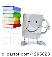 Clipart Of A 3d Happy Coffee Mug Holding A Thumb Up And Stack Of Books Royalty Free Illustration