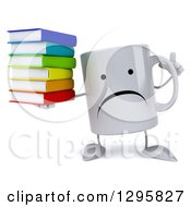 Clipart Of A 3d Unhappy Coffee Mug Holding Up A Finger And A Stack Of Books Royalty Free Illustration