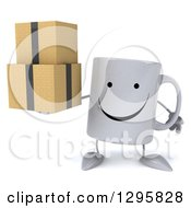 Clipart Of A 3d Happy Coffee Mug Holding Boxes Royalty Free Illustration