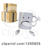Clipart Of A 3d Unhappy Coffee Mug Jumping And Holding Boxes Royalty Free Illustration