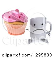 Clipart Of A 3d Unhappy Coffee Mug Holding Up A Pink Frosted Cupcake Royalty Free Illustration