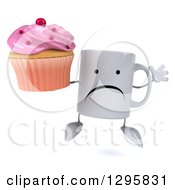 Clipart Of A 3d Unhappy Coffee Mug Jumping And Holding A Pink Frosted Cupcake Royalty Free Illustration