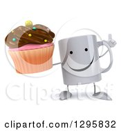 Clipart Of A 3d Happy Coffee Mug Holding Up A Finger And A Chocolate Frosted Cupcake Royalty Free Illustration