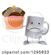 Clipart Of A 3d Unhappy Coffee Mug Holding And Pointing To A Chocolate Frosted Cupcake Royalty Free Illustration