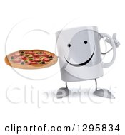 Clipart Of A 3d Happy Coffee Mug Holding Up A Finger And A Pizza Royalty Free Illustration