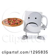 Clipart Of A 3d Unhappy Coffee Mug Holding A Pizza Royalty Free Illustration