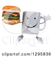 Clipart Of A 3d Happy Coffee Mug Jumping And Holding A Double Cheeseburger Royalty Free Illustration