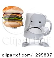 Clipart Of A 3d Unhappy Coffee Mug Holding And Pointing To A Double Cheeseburger Royalty Free Illustration