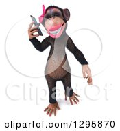 Clipart Of A 3d Female Chimpanzee Walking And Talking On A Smart Cell Phone Royalty Free Illustration