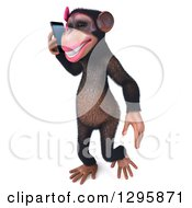 Clipart Of A 3d Female Chimpanzee Walking Slightly Left And Talking On A Smart Cell Phone Royalty Free Illustration