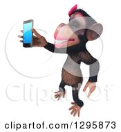 Clipart Of A 3d Female Chimpanzee Facing Left And Holding Out A Smart Cell Phone Royalty Free Illustration