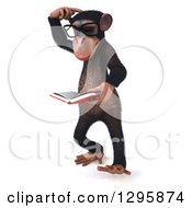 Clipart Of A 3d Bespectacled Chimpanzee Thinking Facing Left And Reading A Book Royalty Free Illustration