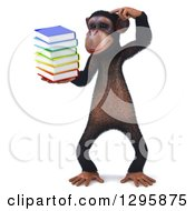 Clipart Of A 3d Bespectacled Chimpanzee Thinking And Holding A Stack Of Books Royalty Free Illustration