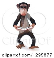 Clipart Of A 3d Chimpanzee Reading A Book Royalty Free Illustration
