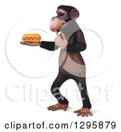 Clipart Of A 3d Chimpanzee Facing Left Thinking And Holding A Hot Dog Royalty Free Illustration