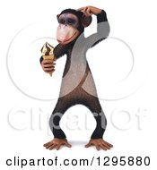 Clipart Of A 3d Thinking Chimpanzee Monkey Holding A Waffle Ice Cream Cone Royalty Free Illustration