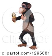 Clipart Of A 3d Thinking Chimpanzee Monkey Facing Left And Holding A Waffle Ice Cream Cone Royalty Free Illustration