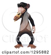 Clipart Of A 3d Chimpanzee Monkey Wearing Sunglasses And Eating A Waffle Ice Cream Cone Royalty Free Illustration