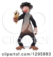 Clipart Of A 3d Chimpanzee Monkey Wearing Sunglasses And Holding A Waffle Ice Cream Cone Royalty Free Illustration
