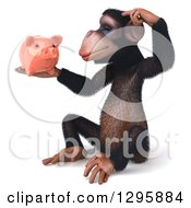 Clipart Of A 3d Chimpanzee Sitting Thinking And Holding A Piggy Bank Royalty Free Illustration