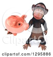 Clipart Of A 3d Chimpanzee Holding Up A Piggy Bank Royalty Free Illustration