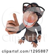 Clipart Of A 3d Bespectacled Chimpanzee Holding A Thumb Up Royalty Free Illustration