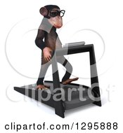 Clipart Of A 3d Bespectacled Chimpanzee Facing Slightly Right Right And Walking On A Treadmill Royalty Free Illustration